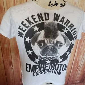Zara Trafaluc Crop Top Weekend Warrior Graphic Sml